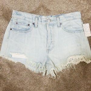 NWT | Free People Denim Lace Shorts